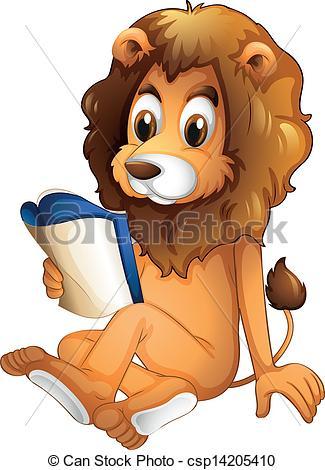 Vector Clip Art of A lion reading a book.
