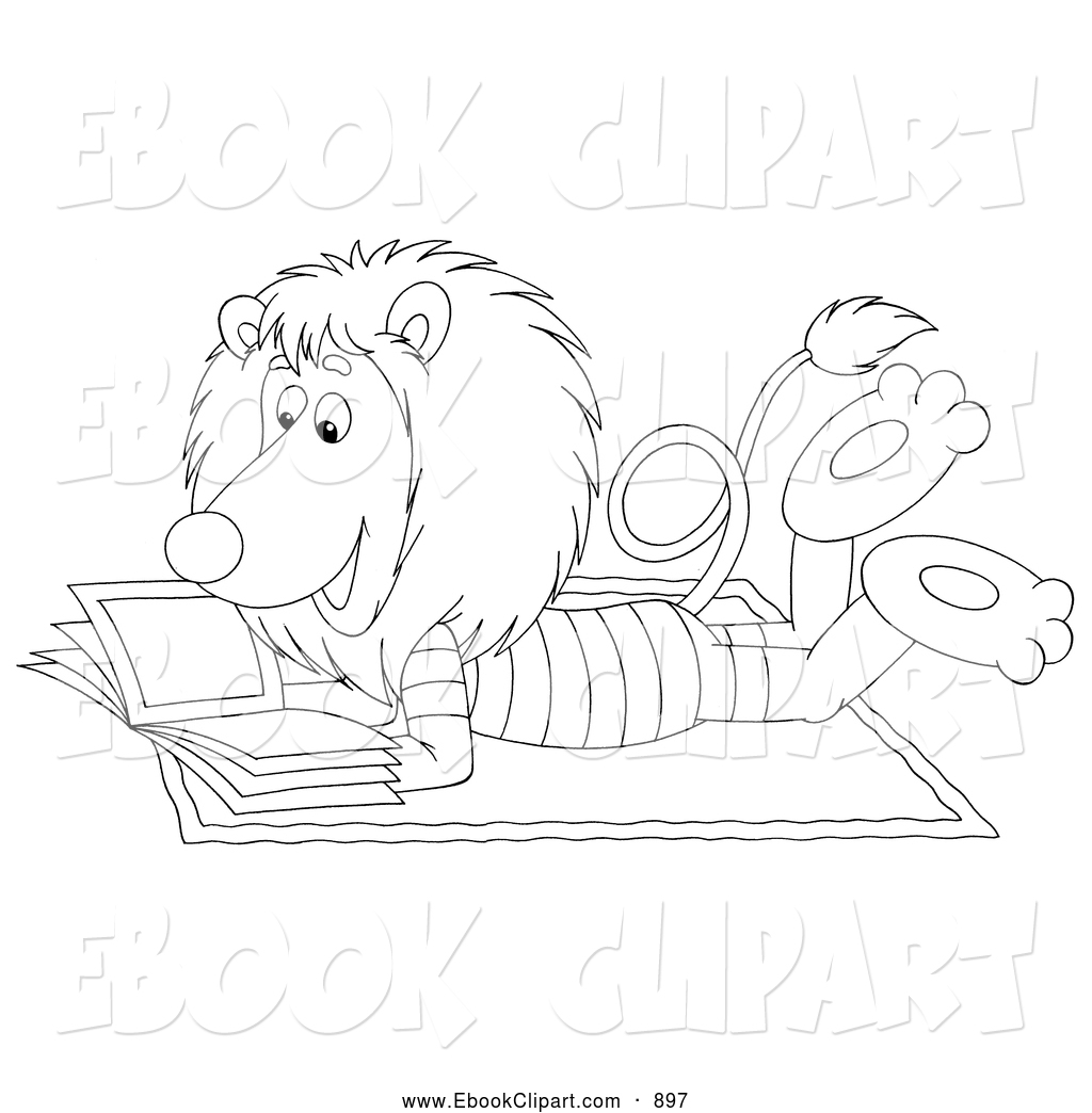 Free clipart lion reading.