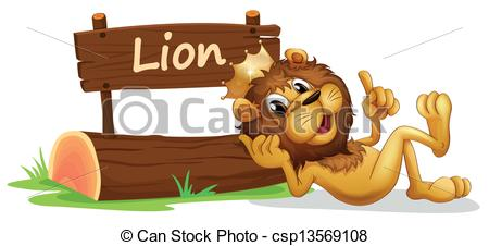 Vector Clipart of A lion with a crown relaxing beside a signboard.