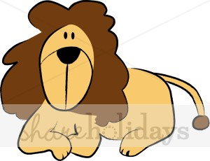 Animated Relaxed Lion Clipart.