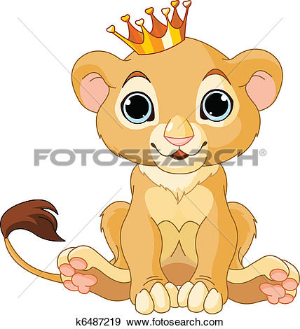 Clipart of Funny lion relaxing k22051503.