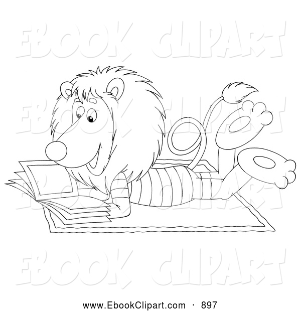 Clip Art of a Calm Relaxed Lion Reading a Book on the Beach by.