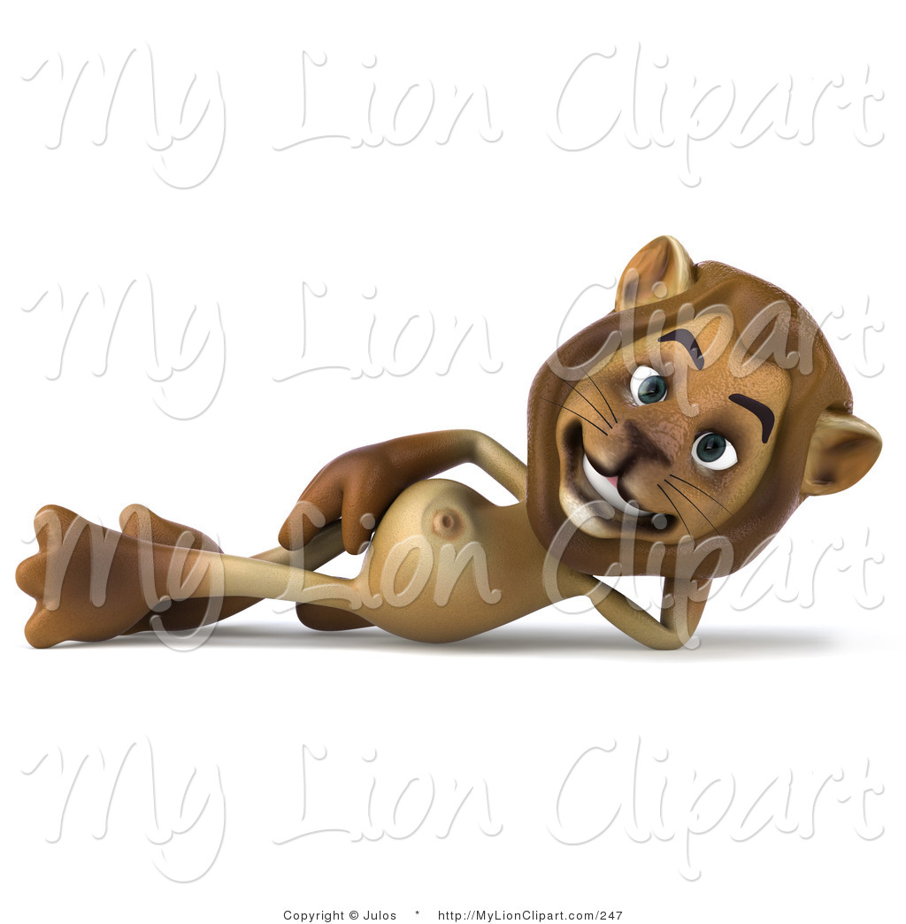 Clipart of a Lion Character Relaxing on His Side by Julos.
