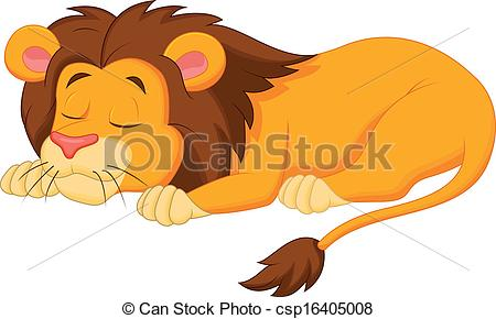 Vector Clipart of Lion cartoon sleeping.