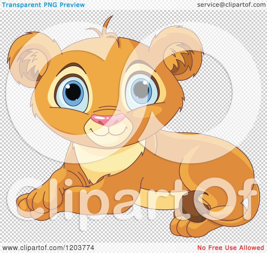 Cartoon of a Cute Resting Lion Cub.