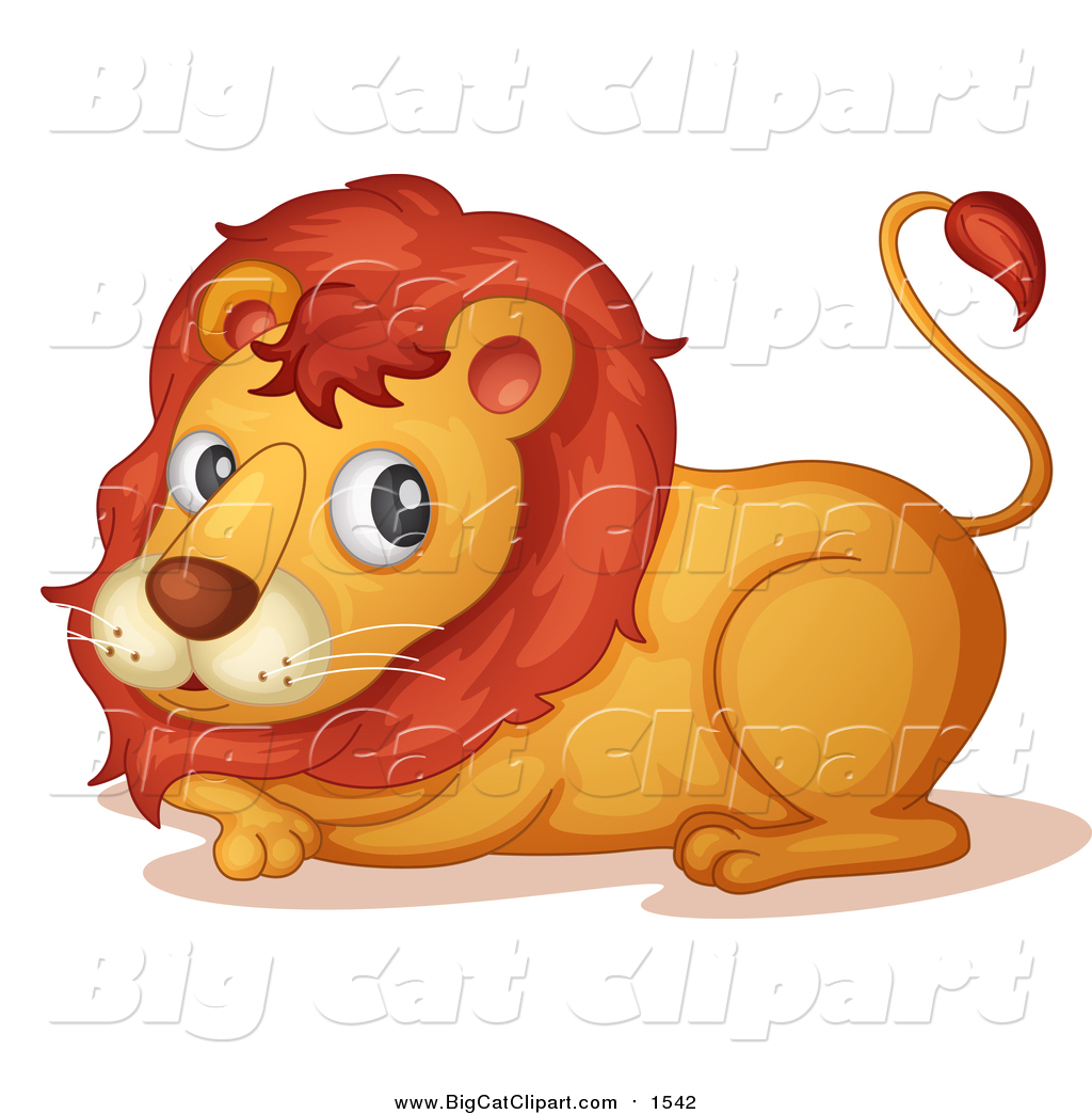 Big Cat Cartoon Vector Clipart of a Lion Resting by colematt.