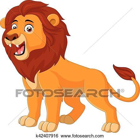 Cartoon lion roaring Clip Art.