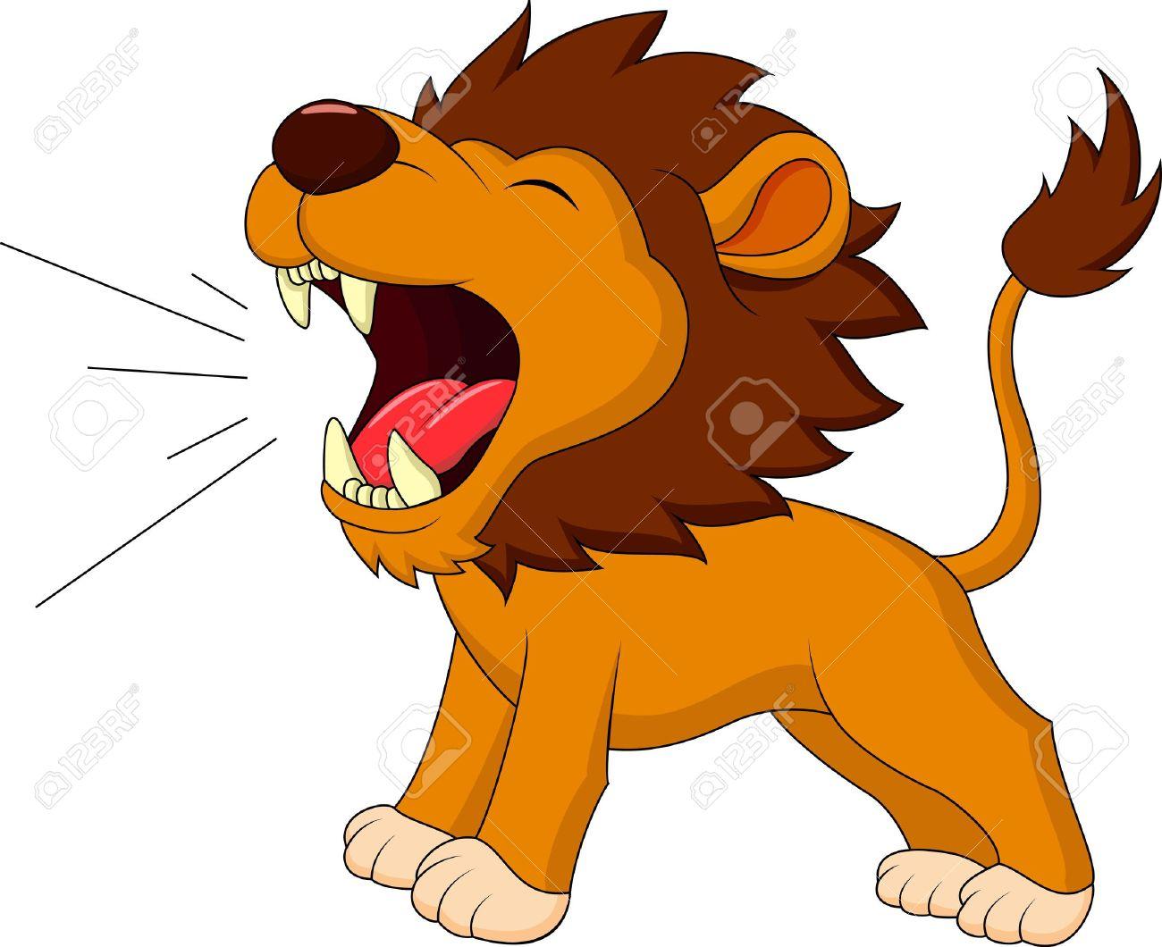 Lion cartoon roaring.