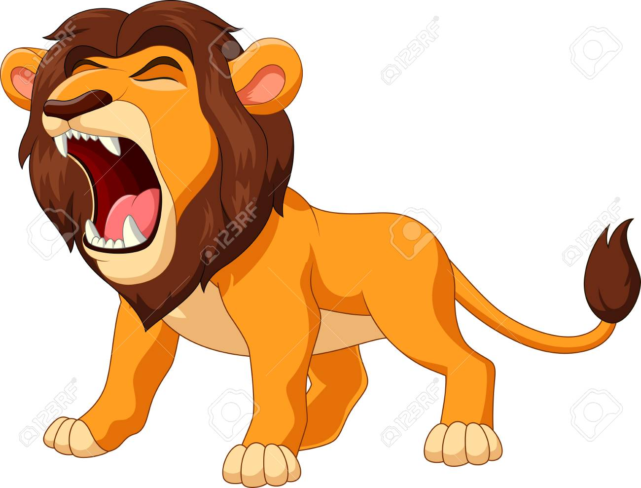 Vector illustration of cartoon lion roaring.