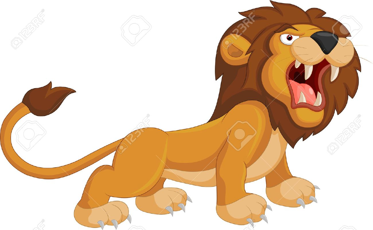 Cartoon lion roaring.
