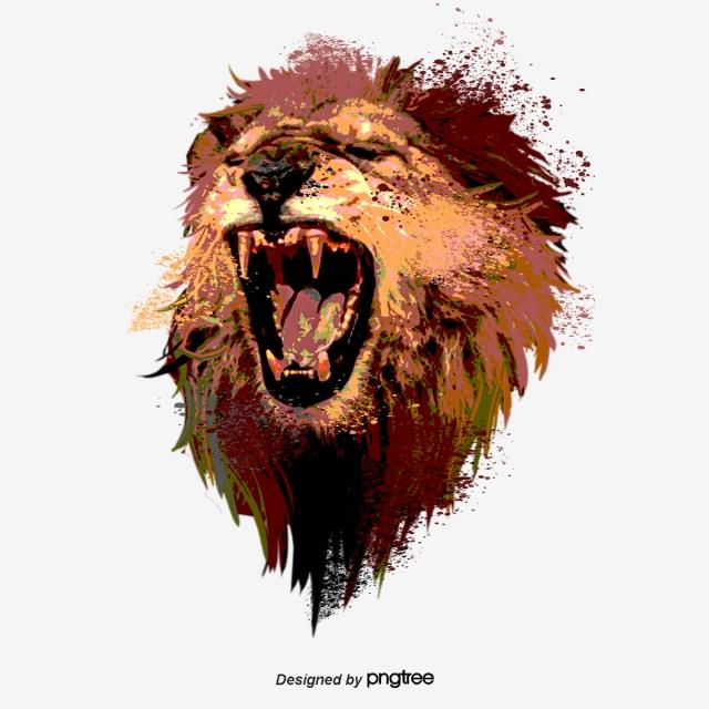 Hand Drawn Elements Of Roaring Lion Roar, Male Lion.