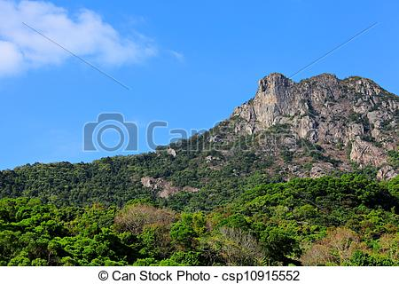 Stock Images of Lion Rock, lion like mountain in Hong Kong, one of.