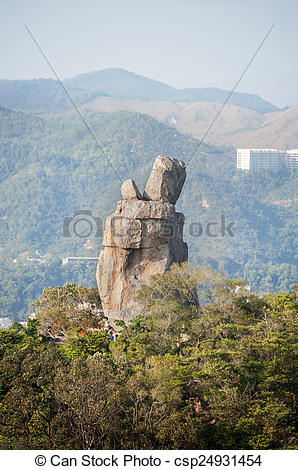 Stock Images of Amah Rock in Lion Rock Country Park, Hong Kong.