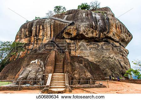 Stock Photo of Sri Lanka, Sigiriya, Lion Rock u50689634.