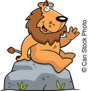 Animal cartoon cat greet happy illustration lion rock Clipart.