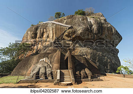 Picture of Lion Gate and climbing stretch at Sigiriya or Lion Rock.
