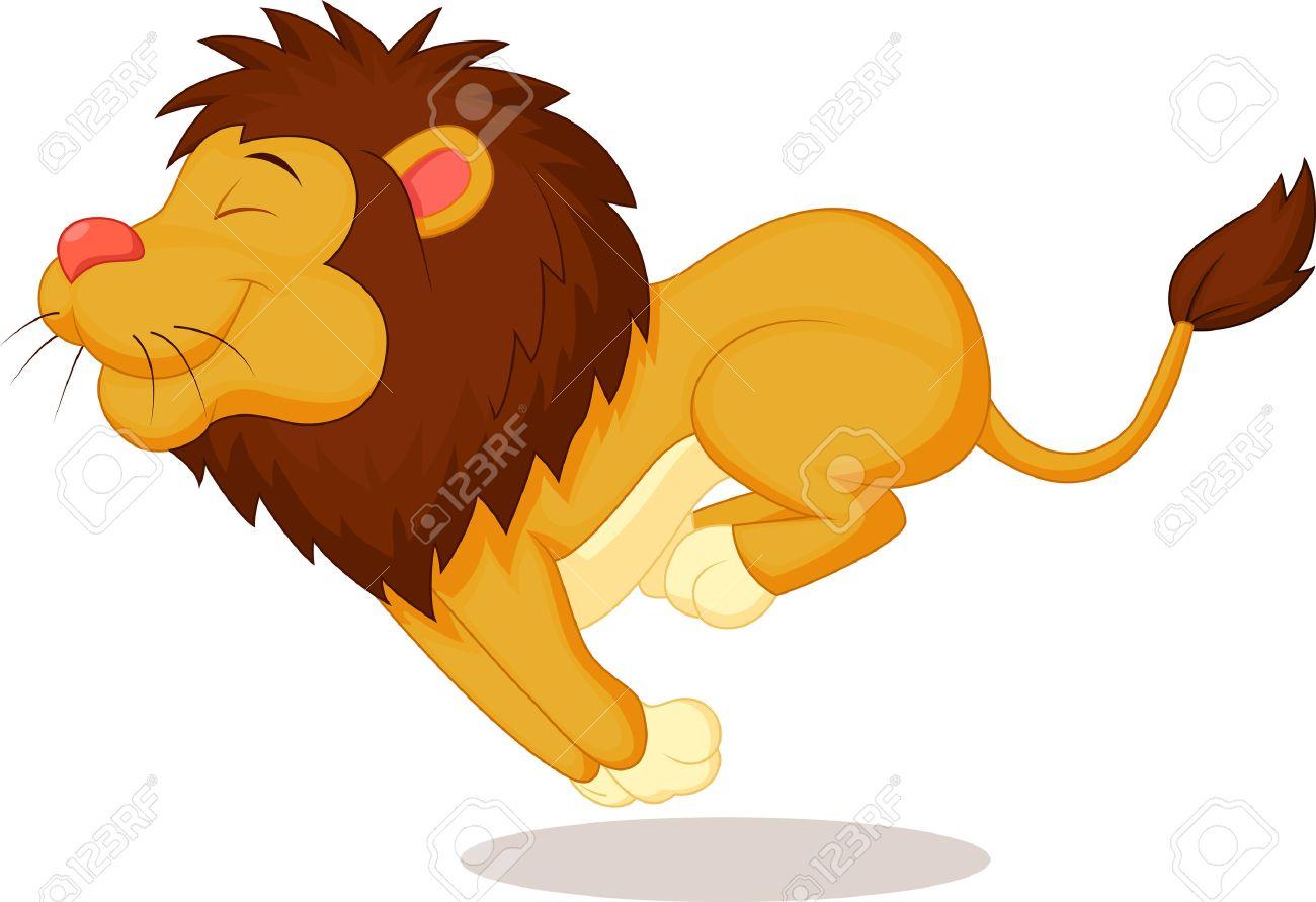 Lion cartoon running.
