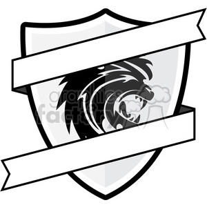 shield with lion emblem and blank ribbon clipart. Royalty.