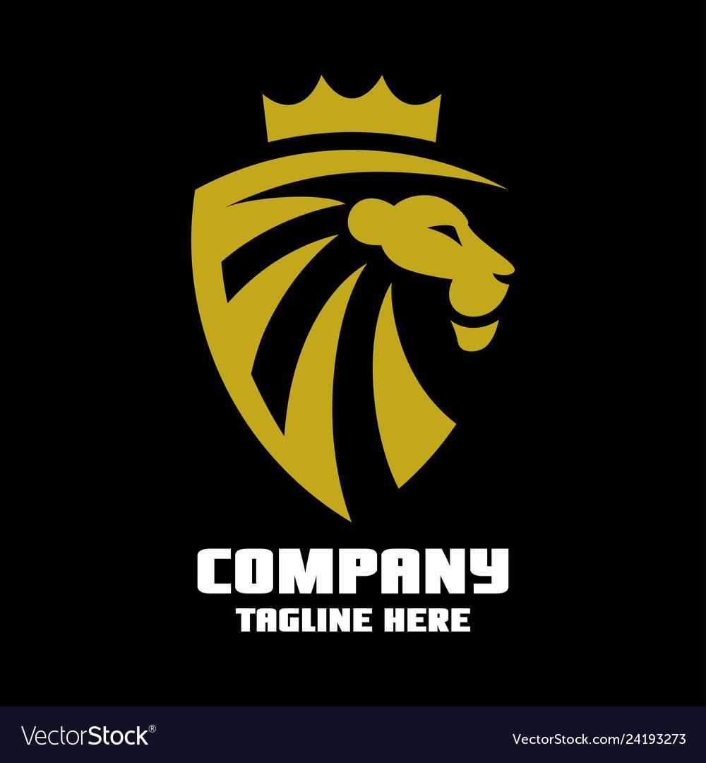 Lion in shield logo.