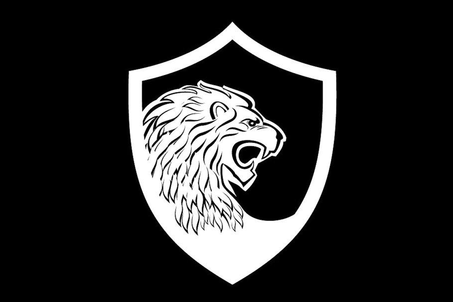 lion shield logo template.