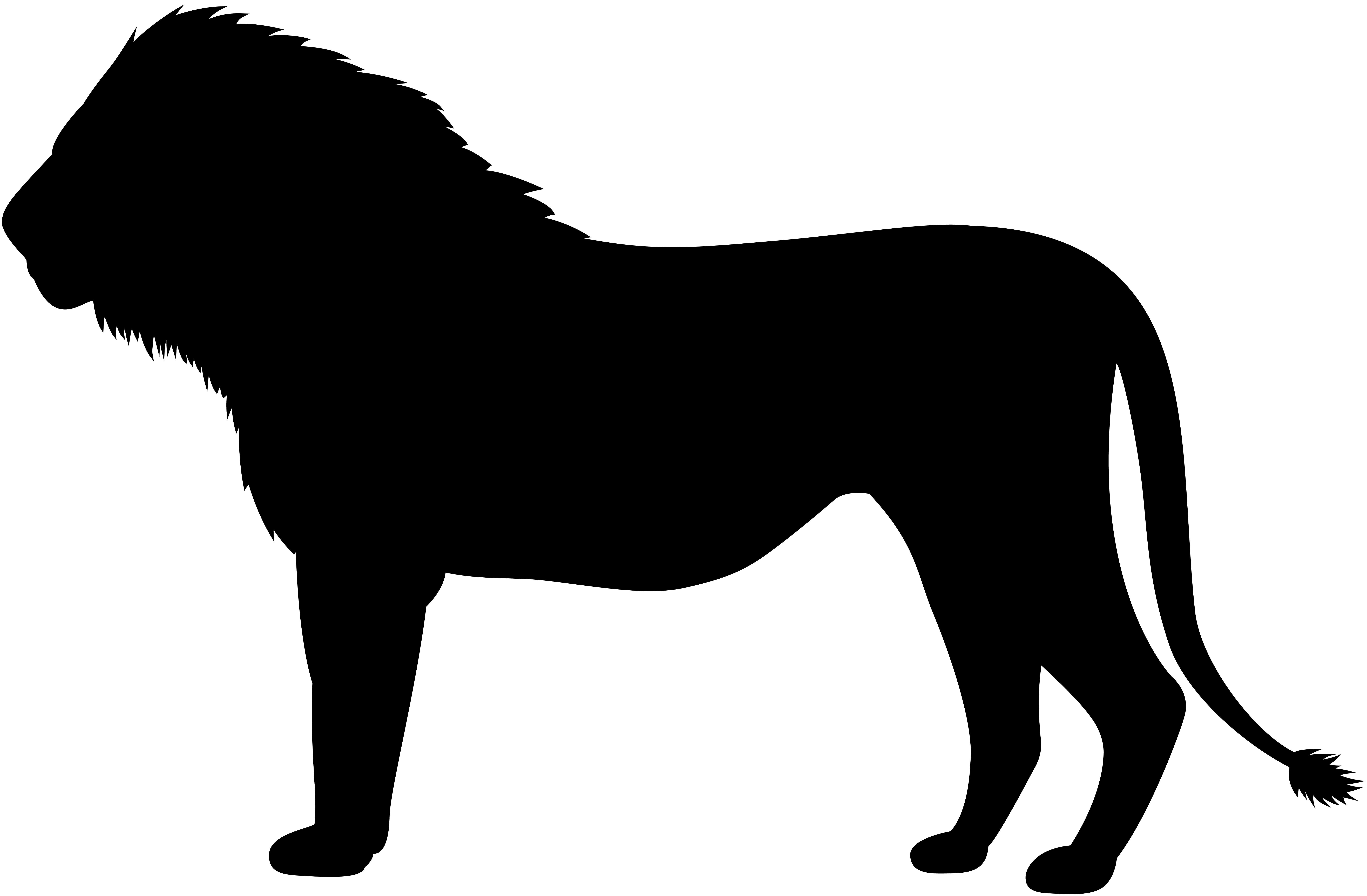 Lion Silhouette PNG Clip Art Image.