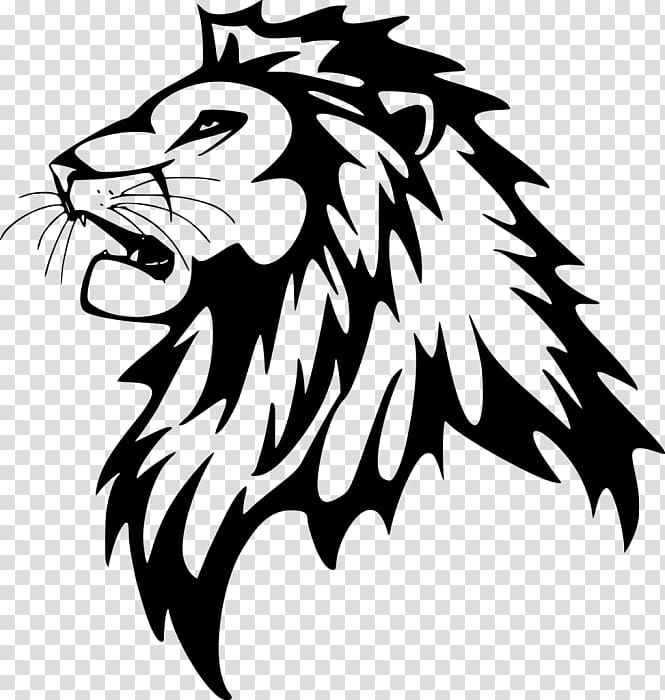Black lion sketch, Wall decal Lion Sticker, roar transparent.