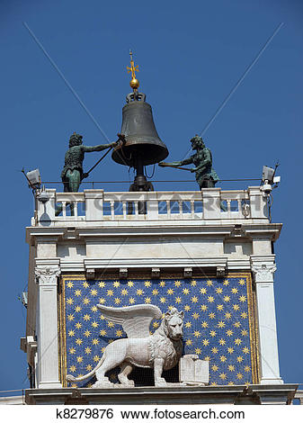 Stock Images of Winged Lion of St. Mark on the Clock Tower, venice.