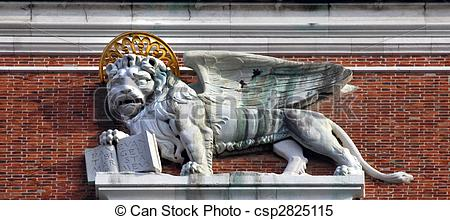 Stock Images of Campanile Bell Tower Saint Mark\'s Lion Statue.