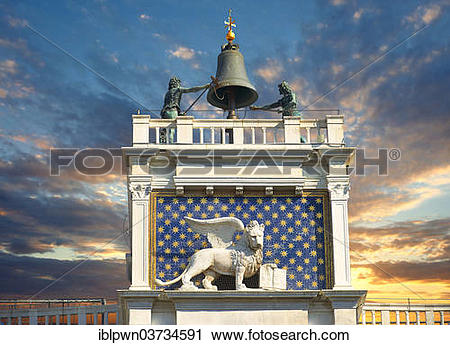"""Stock Photography of """"The Lion of St Mark, renaissance clock tower."""