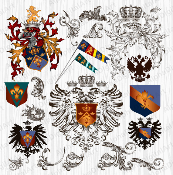 20 Vintage Heraldry Ornament royal crown clipart Lion by IstarArt.