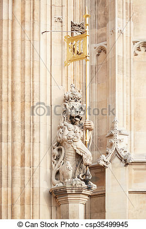 Stock Photo of Victoria Tower lion statue, London.