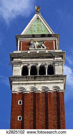 Stock Photo of Campanile Bell Tower Saint Mark's Lion Venice Italy.