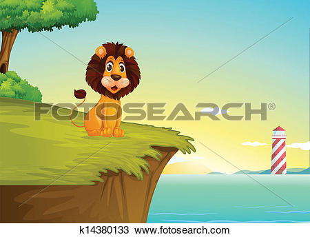 Clipart of A lion sitting at the cliff overlooking the tower.