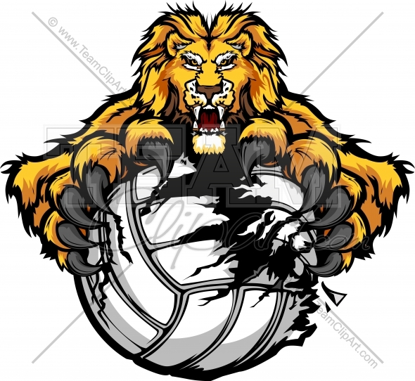 Lion Volleyball Clipart Vector Image.