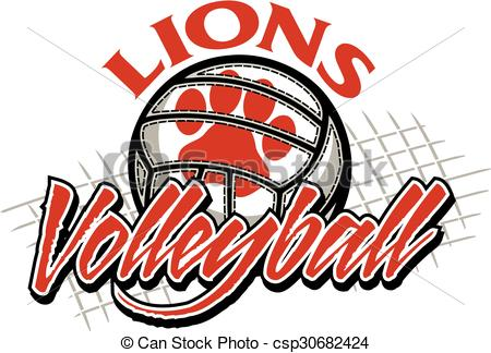 Vector Clip Art of lions volleyball.