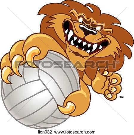 Clip Art of Lion holding Volleyball with angry face lion032.