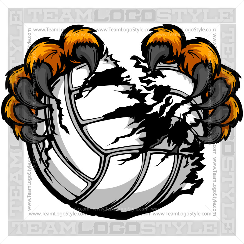 Clip Art Volleyball Leopard Claws.