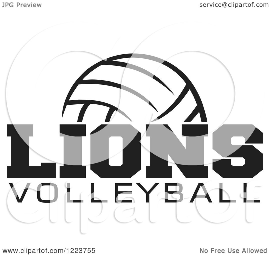 Clipart of a Black and White Ball with LIONS VOLLEYBALL Text.
