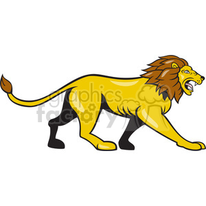 lion walking side ISOLATED clipart. Royalty.