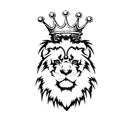 tribal lion with crown tattoo.