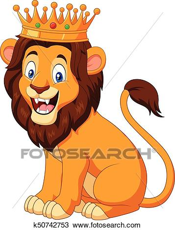 Cartoon lion wearing a crown Clipart.