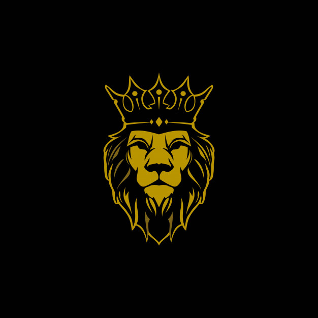 Lion with crown logo Vector.