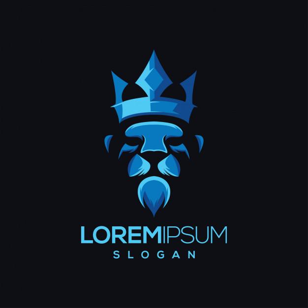 Lion crown gradient colour logo design Vector.