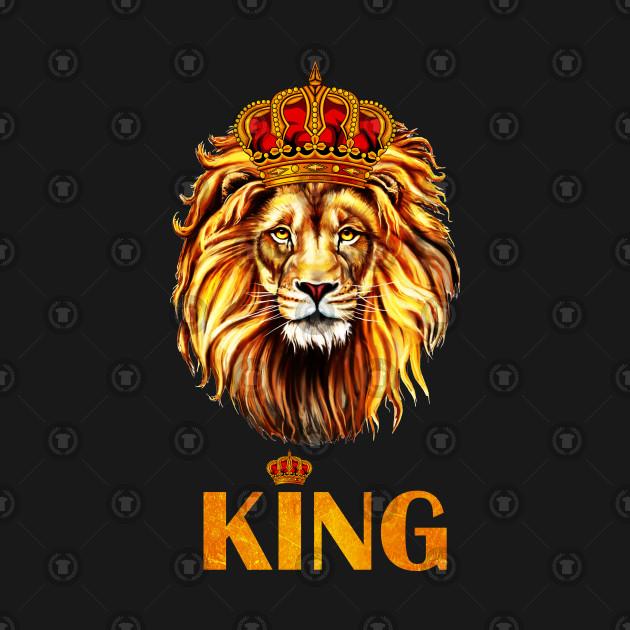 King Lion wearing Crown Royalty Head Jungle King.
