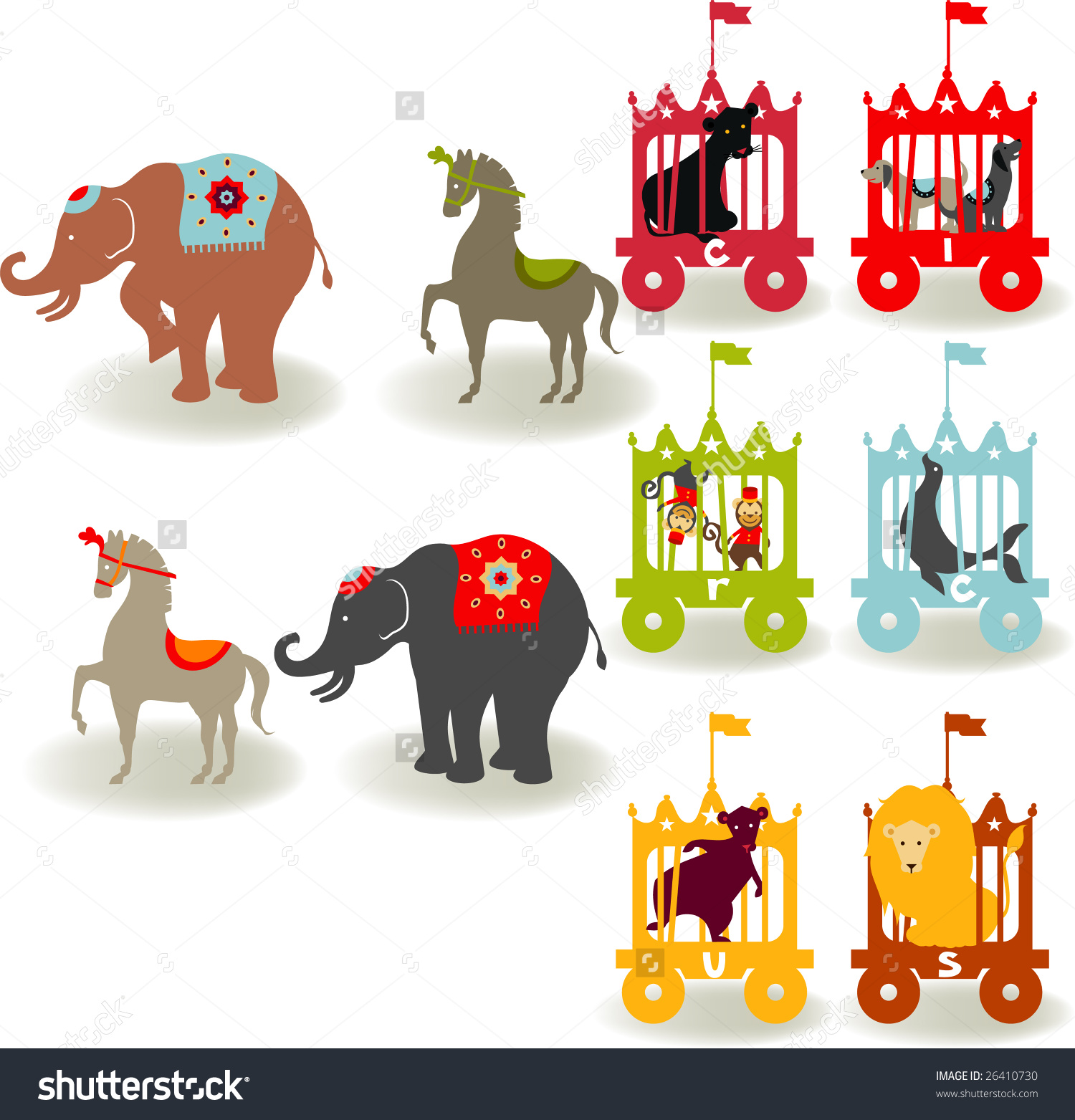 Circus Elements Like Elephants Horse Lion Stock Vector 26410730.