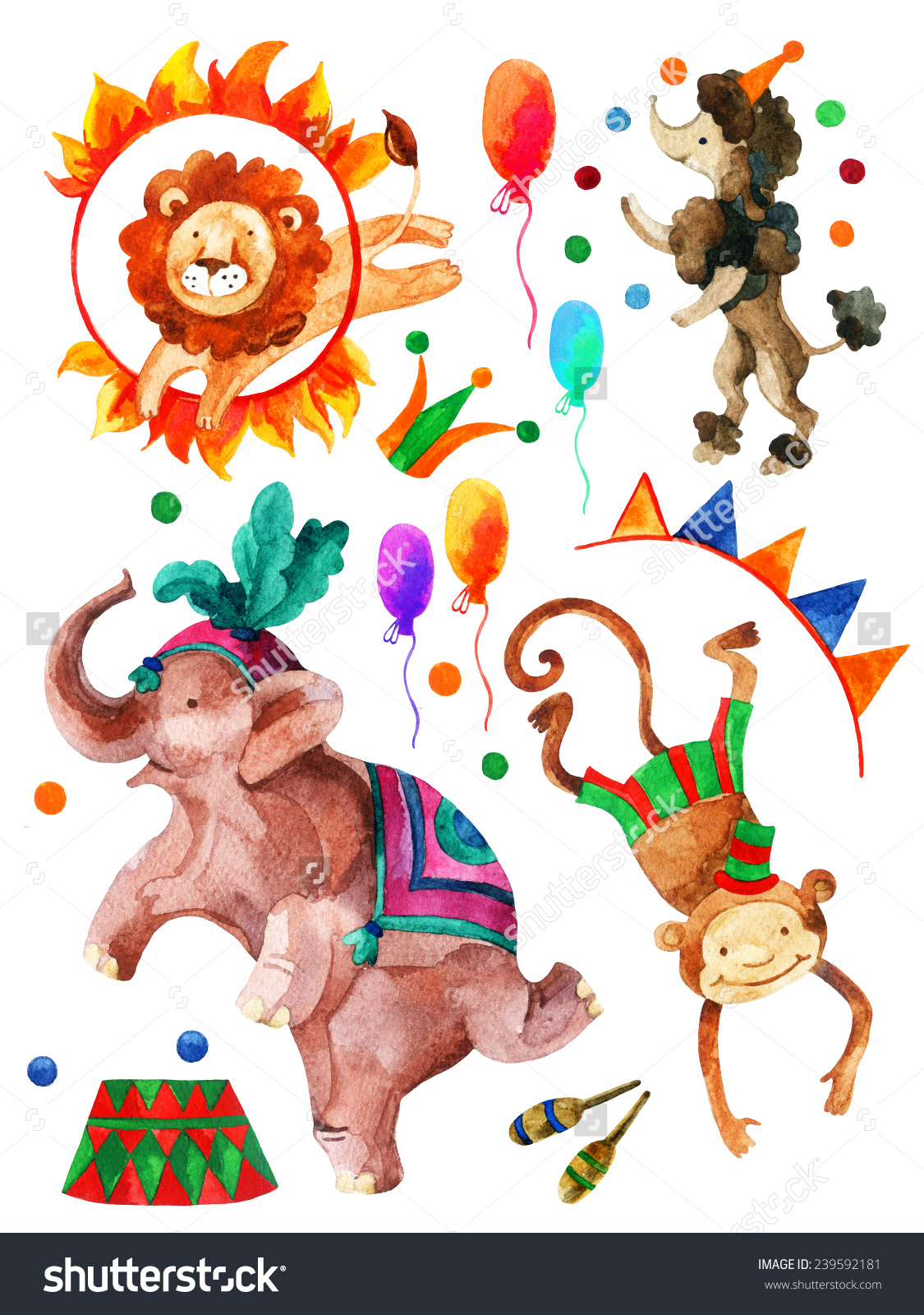 Watercolor Circus Cartoon Elephant Monkey Lion Stock Illustration.