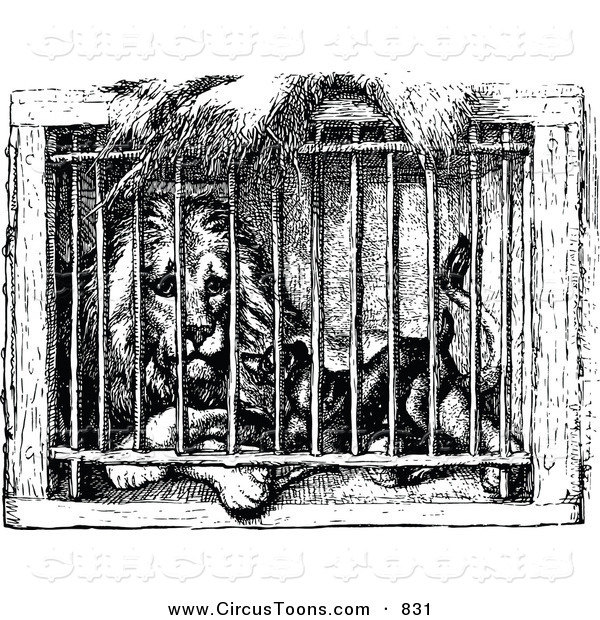Circus Clipart of a Black and White Lion and Dog in a Cage by.