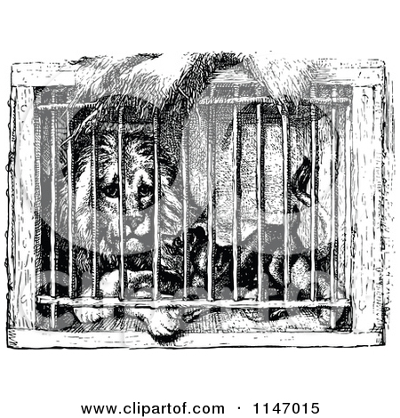 Clipart of a Retro Vintage Black and White Caged Lion and Dog.