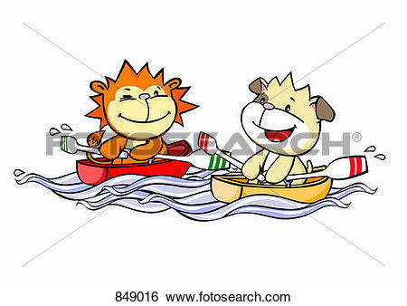 Clip Art of A cartoon lion and dog rowing boats 849016.