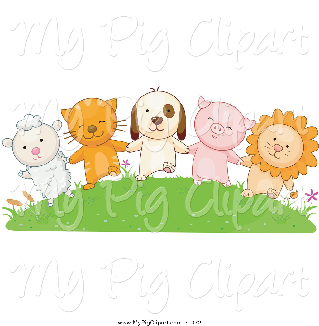 Swine Clipart of a Lamb, Cat, Dog, Pig and Lion Holding Hands on a.